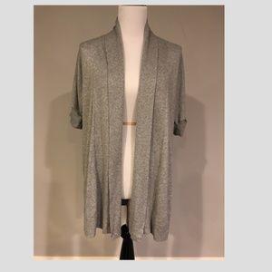Ann Taylor Loft Short-sleeved Gray Cardigan - M